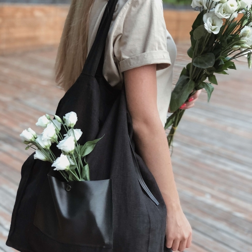 Natural linen shopper black