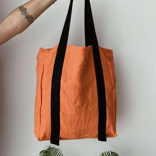 Natural linen shopper orange